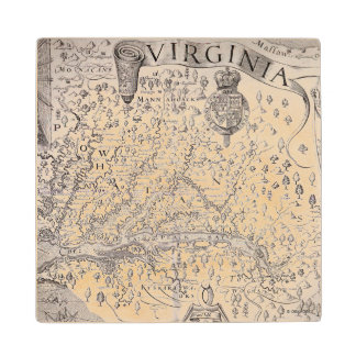 Virginia Map, 1612 Wood Coaster