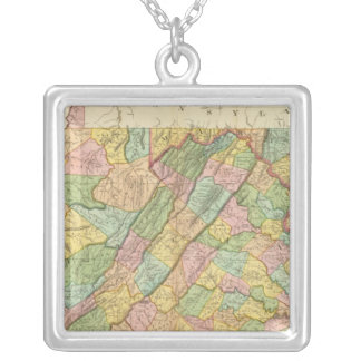 Virginia Maryland and Delaware Silver Plated Necklace
