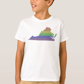 Virginia Rainbow Pride Flag Mosaic For Kids Tees