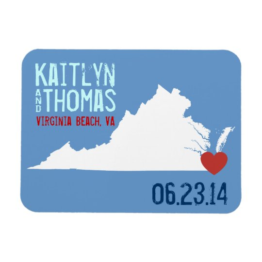 Virginia Save the Date - Customisable City Rectangular Photo Magnet