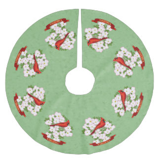 Virginia State Cardinal Bird and Dogwood Flower Brushed Polyester Tree Skirt