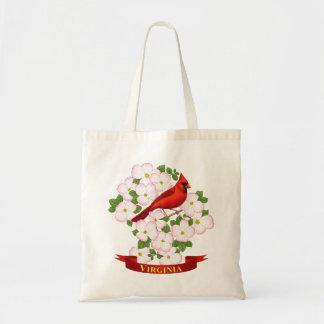 Virginia State Cardinal Bird and Dogwood Flower Tote Bag