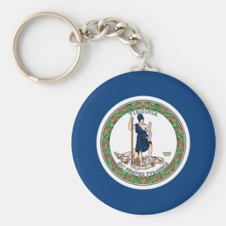 Virginia State Flag Basic Round Button Key Ring