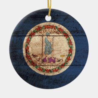 Virginia State Flag on Old Wood Grain Christmas Ornament