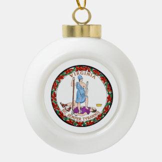 Virginia State Seal Ceramic Ball Christmas Ornament