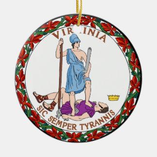 Virginia State Seal Round Ceramic Decoration