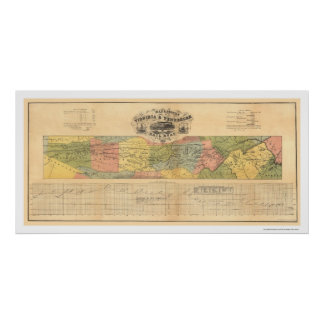 Virginia & Tennessee Railroad Map 1856 Poster