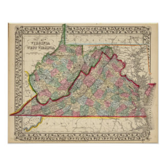 Virginia, W Virginia Map by Mitchell Poster