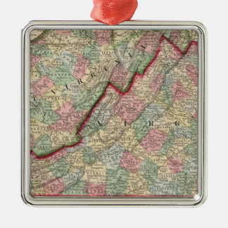 Virginia, W Virginia Map by Mitchell Silver-Colored Square Decoration