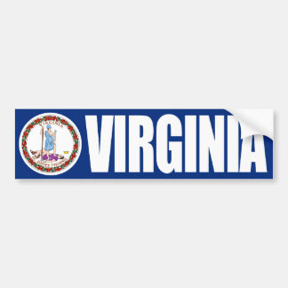 Virginia with State Flag Bumper Sticker