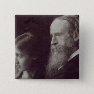 Virginia Woolf and her father Sir Leslie 15 Cm Square Badge