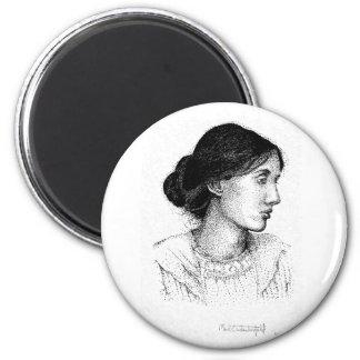 Virginia Woolf Ink Drawing Magnet