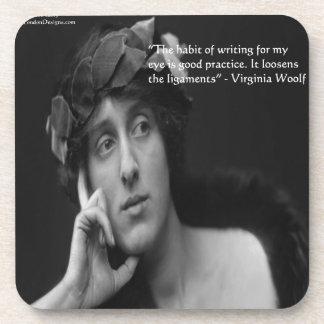 Virginia Woolf W/Zebra Stripes Writing Quote Coasters