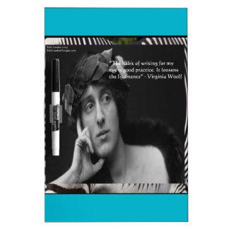 Virginia Woolf W/Zebra Stripes Writing Quote Dry Erase Board