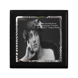 Virginia Woolf W/Zebra Stripes Writing Quote Small Square Gift Box