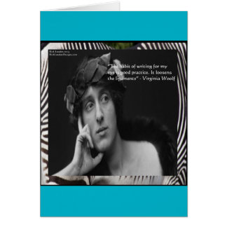 Virginia Woolf W/Zebra Stripes Writing Quote Greeting Card