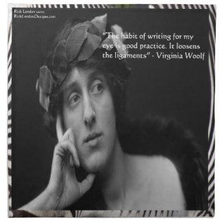 Virginia Woolf W/Zebra Stripes Writing Quote Cloth Napkin