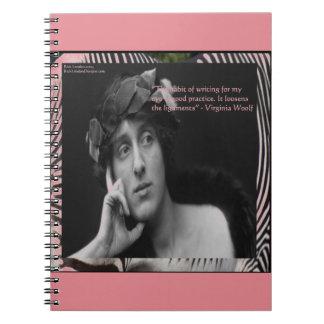 Virginia Woolf W/Zebra Stripes Writing Quote Notebook