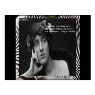 Virginia Woolf W/Zebra Stripes Writing Quote Postcard