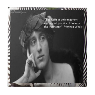 Virginia Woolf W/Zebra Stripes Writing Quote Small Square Tile