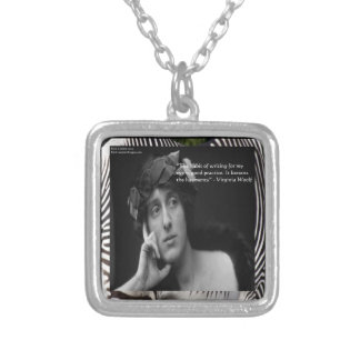 Virginia Woolf W/Zebra Stripes Writing Quote Square Pendant Necklace