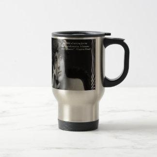 Virginia Woolf W/Zebra Stripes Writing Quote Stainless Steel Travel Mug