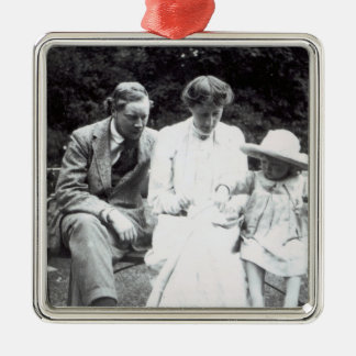 Virginia Woolf with Clive and Julian Bell, 1910 Silver-Colored Square Decoration
