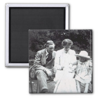 Virginia Woolf with Clive and Julian Bell, 1910 Square Magnet