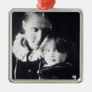 Virginia Woolf, with her mother Julia, 1884 Silver-Colored Square Decoration