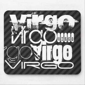 Virgo; Black & Dark Gray Stripes Mouse Pad