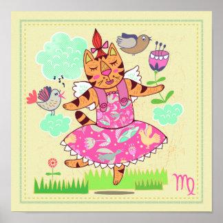 Virgo Cat Zodiac Nursery Print Print