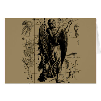 Virgo Constellation Hevelius Etching Style Card