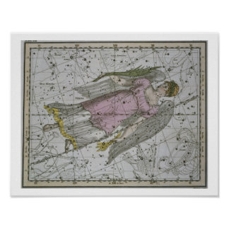 Virgo, from 'A Celestial Atlas', pub. in 1822 (col Poster