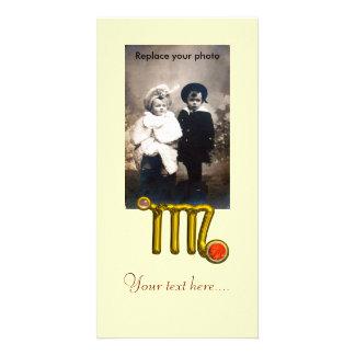VIRGO / GOLD ORANGE AGATE ZODIAC SIGN JEWEL PERSONALIZED PHOTO CARD
