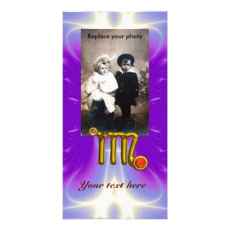 VIRGO / GOLD ORANGE AGATE ZODIAC SIGN JEWEL PHOTO CARD TEMPLATE