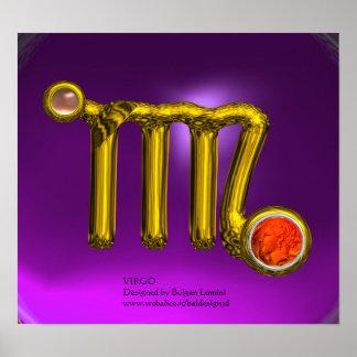 VIRGO/ GOLD ZODIAC SIGN JEWEL Purple Birthday Poster