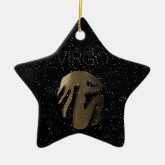 Virgo golden sign christmas ornament