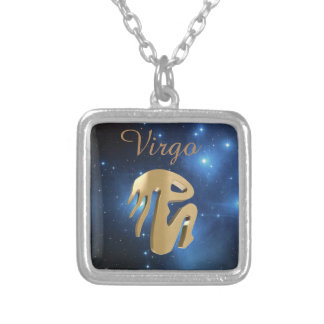 Virgo golden sign silver plated necklace