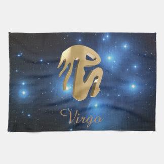 Virgo golden sign tea towel