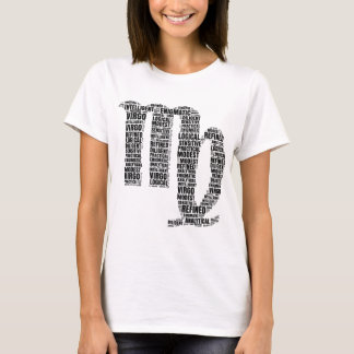 Virgo Horoscope Symbol in a Word Cloud T-Shirt