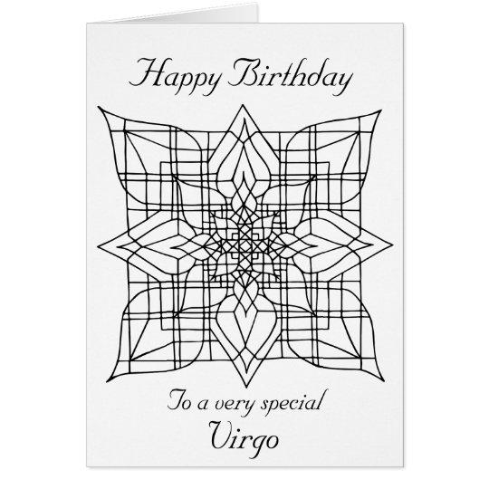 Virgo Mandala Colour Your Own Birthday Card Zazzle