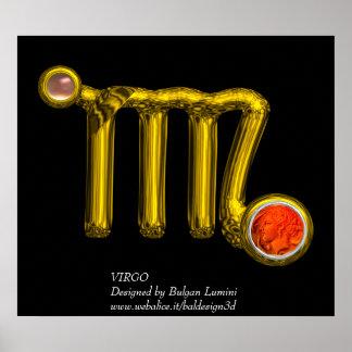 VIRGO /ORANGE AGATE ,GOLD ZODIAC SIGN JEWEL,Black