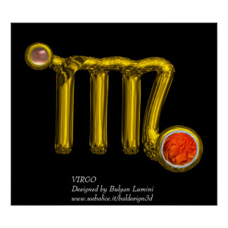 VIRGO /ORANGE AGATE ,GOLD ZODIAC SIGN JEWEL,Black Poster