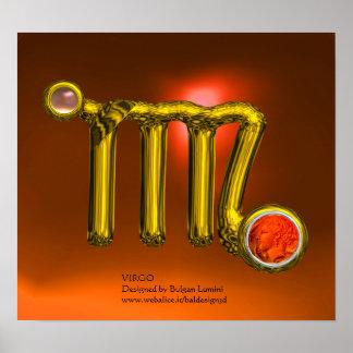 VIRGO/ORANGE,GREY AGATE GOLD ZODIAC SIGN JEWEL POSTER