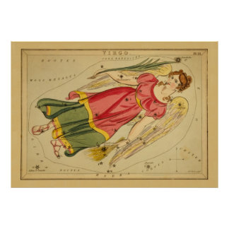 Virgo - Vintage Sign of the Zodiac Image Poster