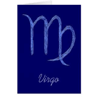 Virgo. Zodiac Astrological Sign. Blue. Card