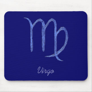 Virgo. Zodiac Astrological Sign. Blue. Mouse Pads