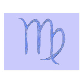 Virgo. Zodiac Astrological Sign. Blue. Postcard