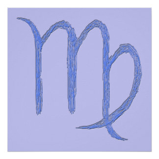 Virgo. Zodiac Astrological Sign. Blue. Posters