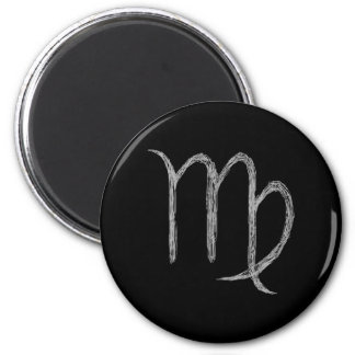 Virgo. Zodiac Astrology Sign. Black. Magnet
